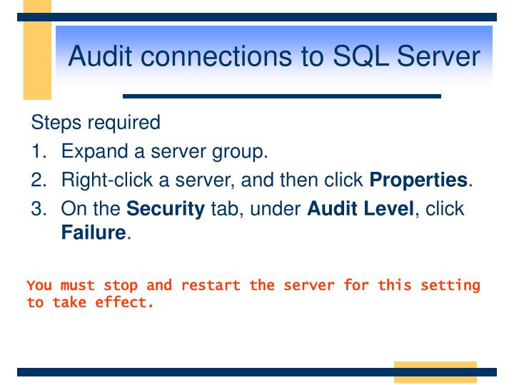 Audit connections to SQL Server