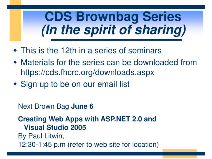 CDS Brownbag Series
