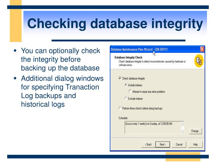 Checking database integrity