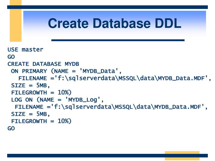 Create Database DDL