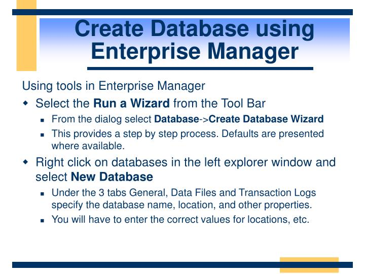Create Database using Enterprise Manager