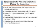 considerations for pilot implementation making the connections