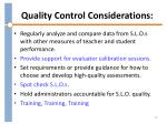 quality control considerations