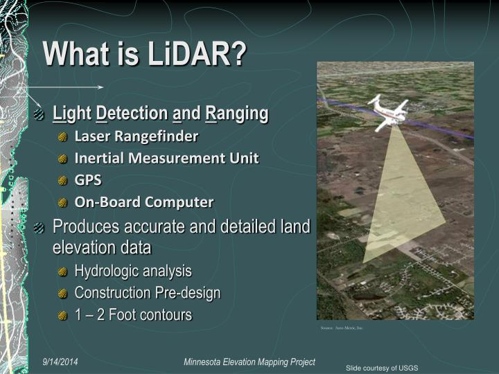 the technology of light detection and ranging Light detection and ranging lidar gathers data through laser light striking the surfaces of the earth and measuring the time of pulse return a lidar photomultiplier tubes convert the individual quanta of light, photons, first into electric currents and then into digital numbers the amount of light required.