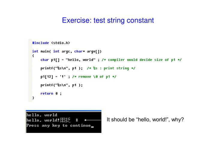 Exercise: test string constant