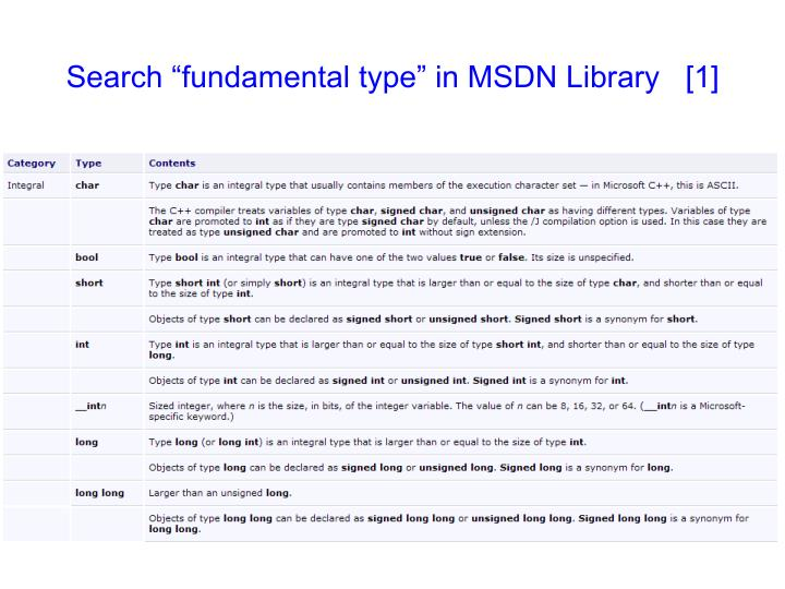 """Search """"fundamental type"""" in MSDN Library   [1]"""