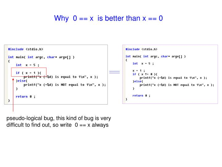Why  0 == x  is better than x == 0