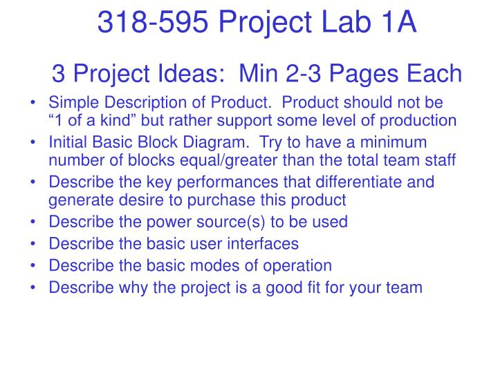 3 Project Ideas:  Min 2-3 Pages Each