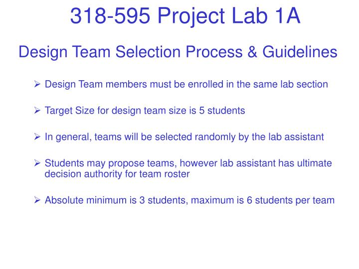 Design Team Selection Process & Guidelines