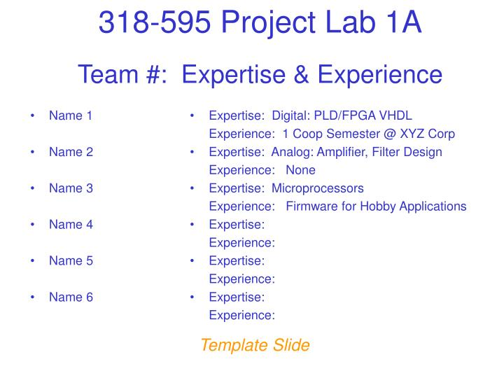 Team #:  Expertise & Experience