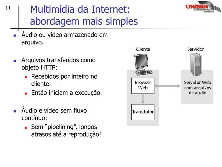 Áudio ou vídeo armazenado em arquivo.