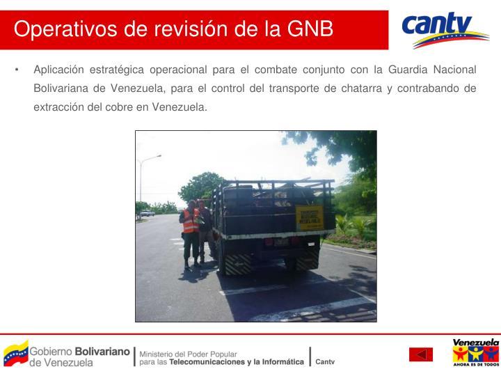 Aplicación estratégica operacional para el combate conjunto con la Guardia Nacional Bolivariana de Venezuela, para el control del transporte de chatarra y contrabando de extracción del cobre en Venezuela.