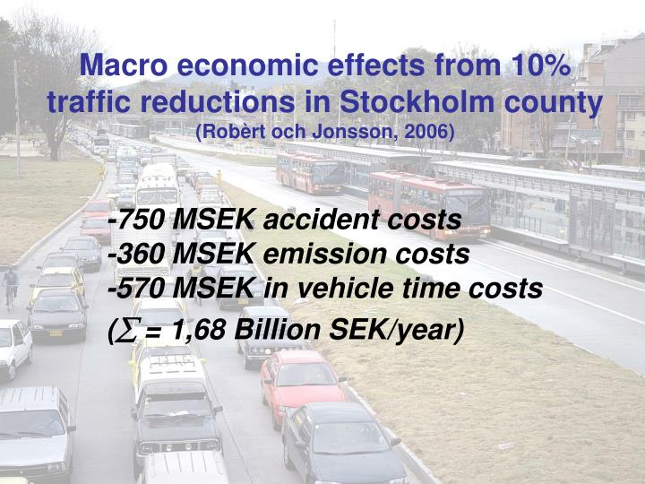Macro economic effects from 10% traffic reductions in Stockholm county
