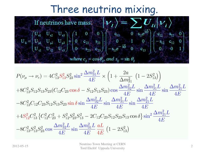 Three neutrino mixing.
