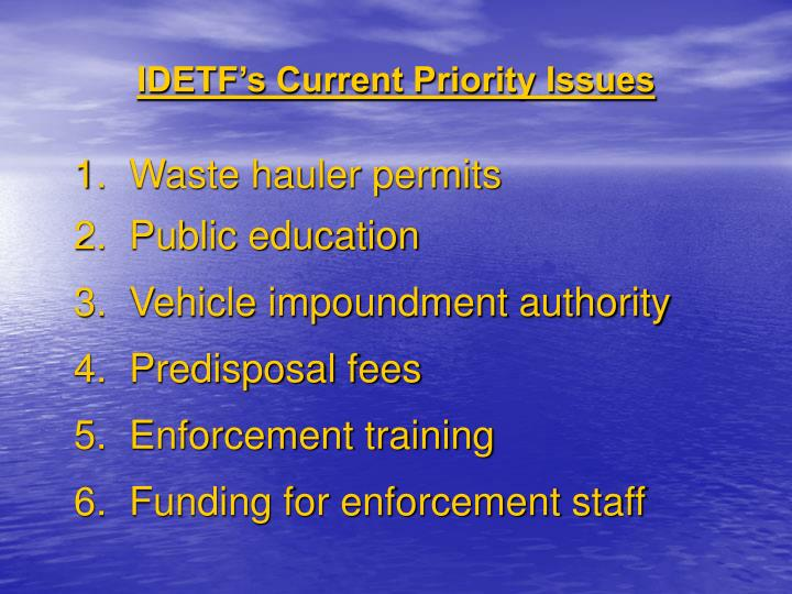 IDETF's Current Priority Issues