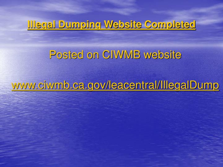 Illegal Dumping Website Completed