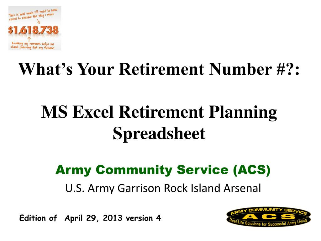 ppt what s your retirement number ms excel retirement planning