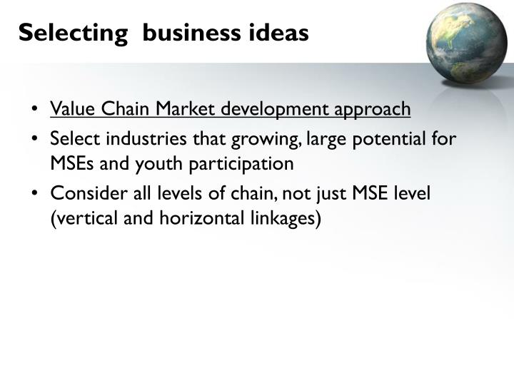Selecting  business ideas
