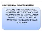 monitoring and evaluation system