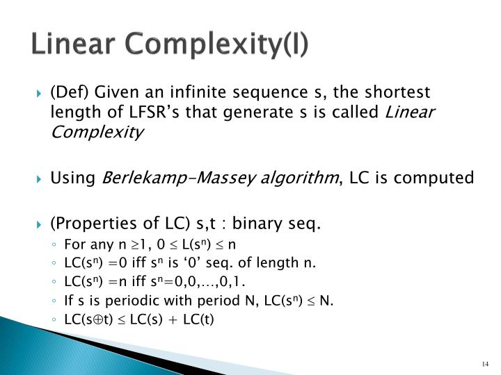 Linear Complexity(I)