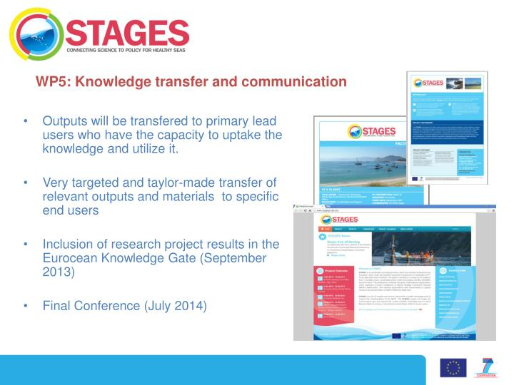WP5: Knowledge transfer and communication