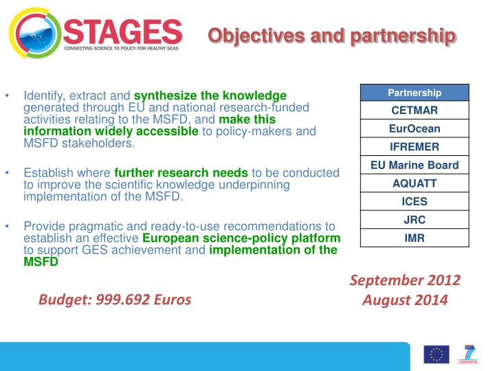 Objectives and partnership