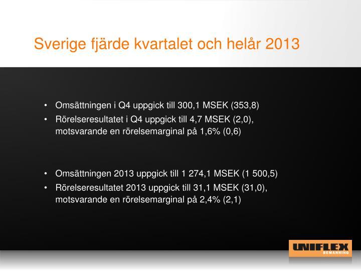 Sverige fjärde kvartalet och helår 2013