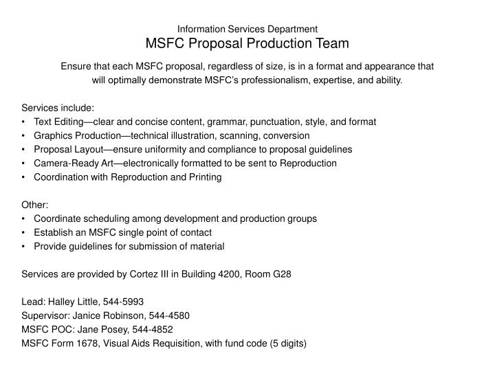 information services department msfc proposal production team n.