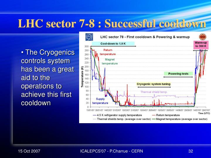 LHC sector 7-8 : Successful cooldown