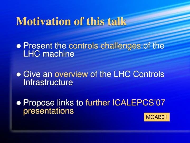 Motivation of this talk