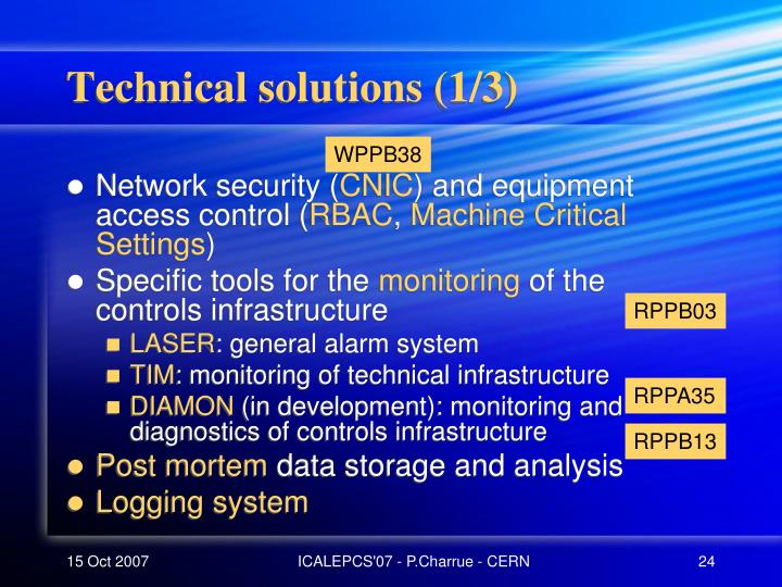 Technical solutions (1/3)