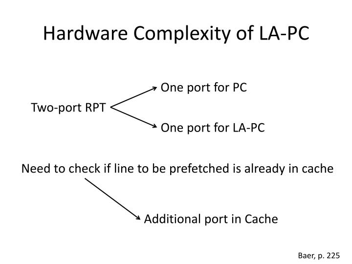 Hardware Complexity of LA-PC