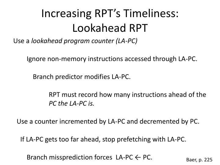 Increasing RPT's Timeliness: Lookahead RPT