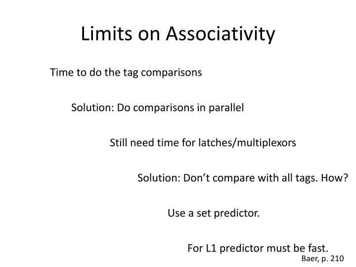 Limits on Associativity