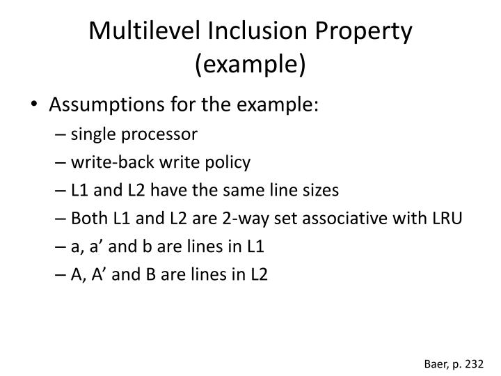 Multilevel Inclusion Property (example)