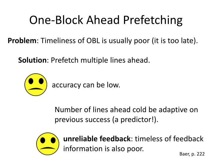 One-Block Ahead Prefetching