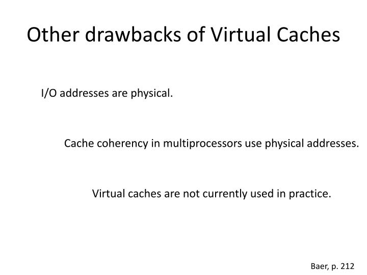 Other drawbacks of Virtual Caches
