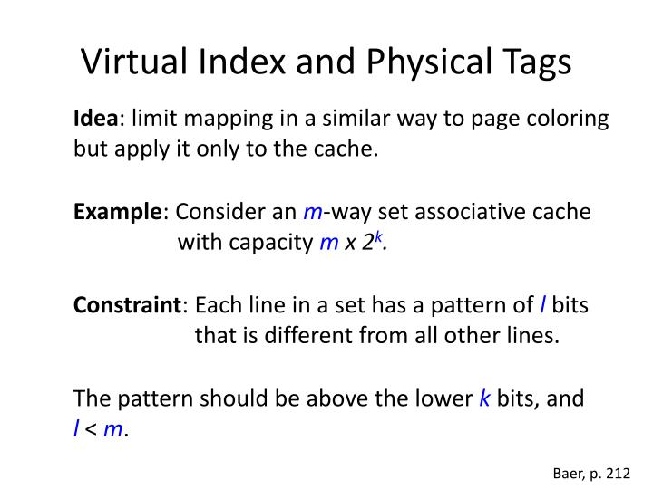 Virtual Index and Physical Tags
