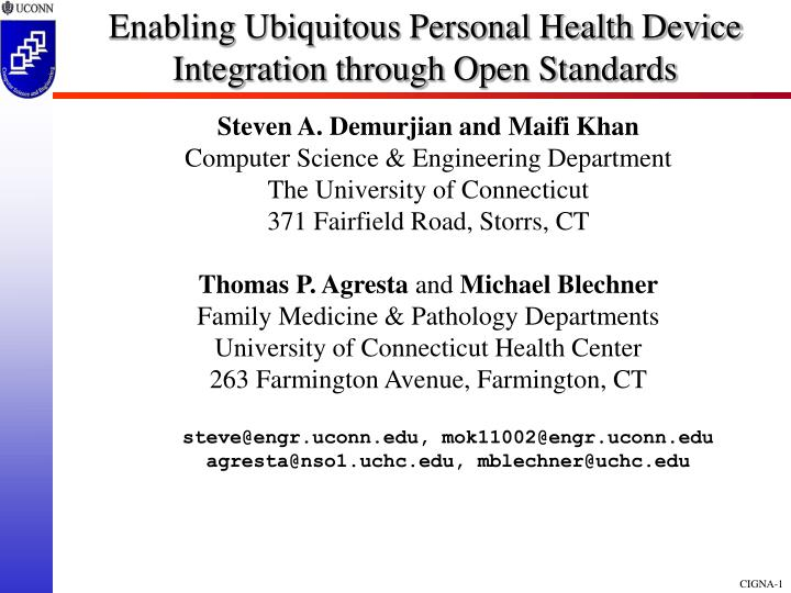 enabling ubiquitous personal health device integration through open standards n.