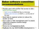babar software committee recommendations