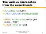 the various approaches from the experiments