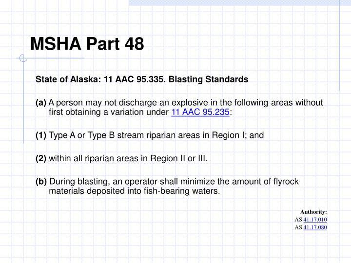 MSHA Part 48