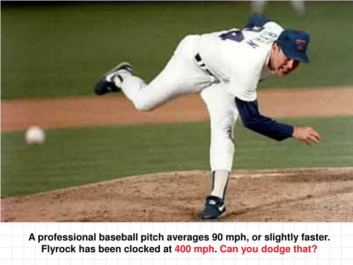 A professional baseball pitch averages 90 mph, or slightly faster.