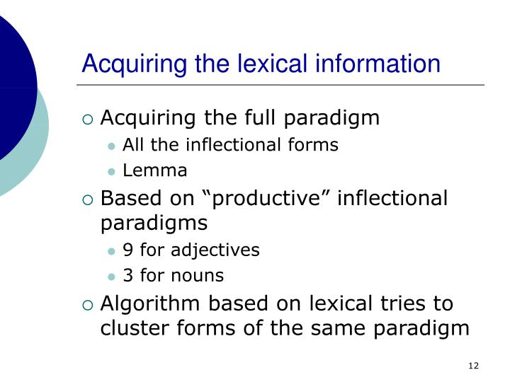 Acquiring the lexical information
