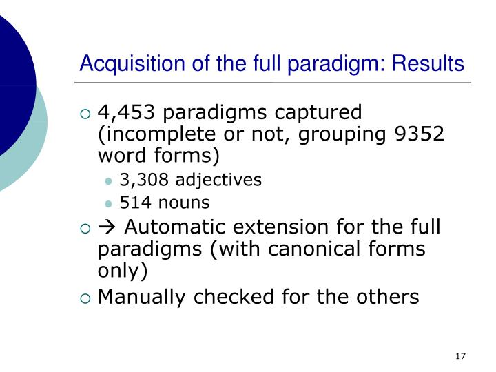 Acquisition of the full paradigm: Results
