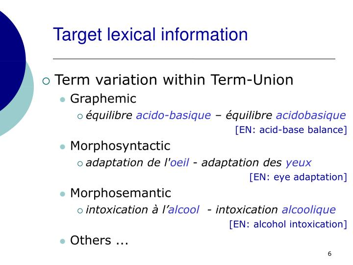 Target lexical information