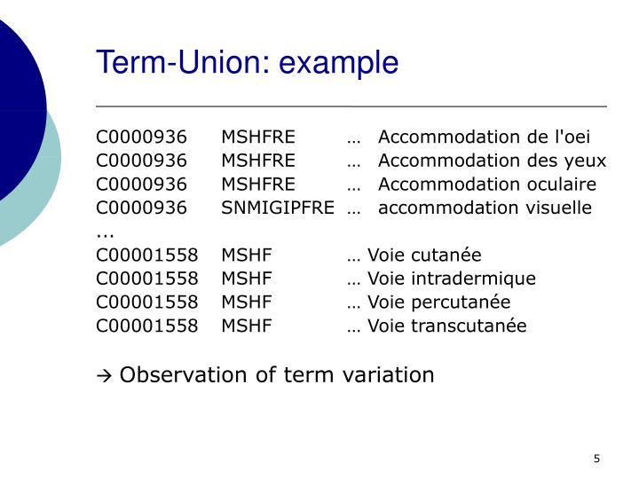 Term-Union: example