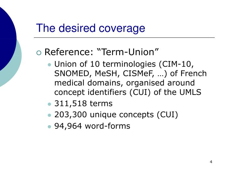 The desired coverage