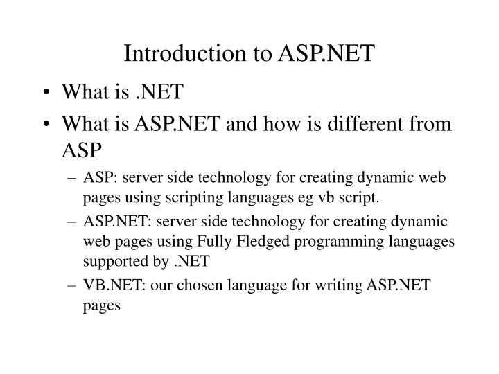 Introduction to asp net