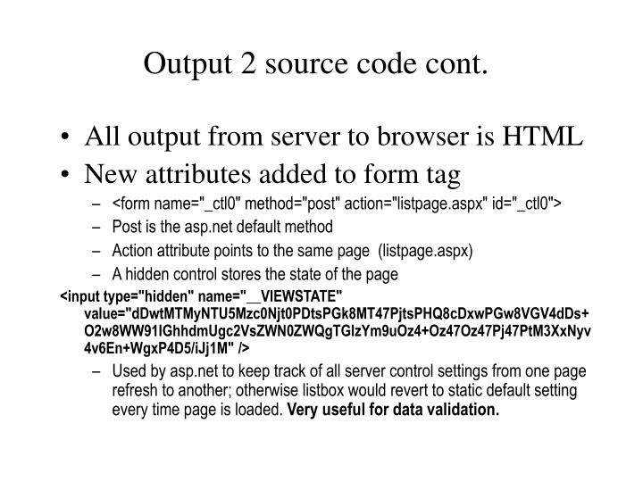 Output 2 source code cont.